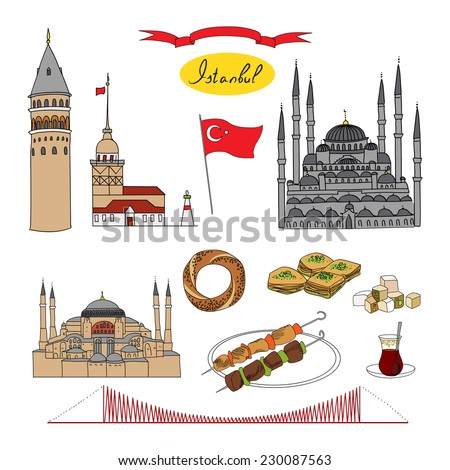 Istanbul tourist isolated object vector set - stock vector