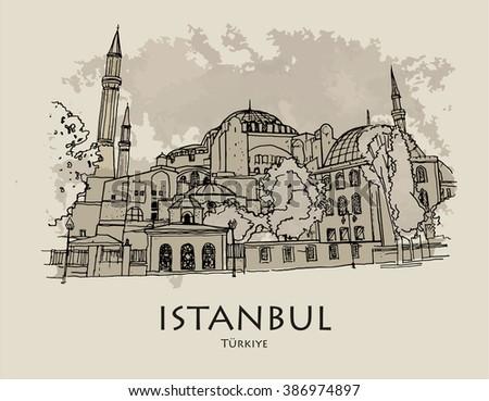 ISTANBUL, TURKEY - Hagia Sophia, museum. Hand drawn sketch - stock vector