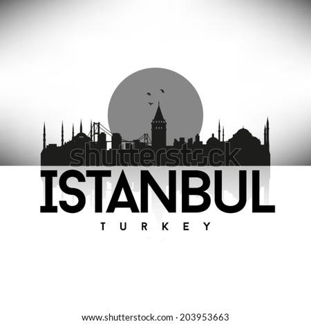Istanbul Turkey skyline silhouette Black and White design, vector illustration. - stock vector