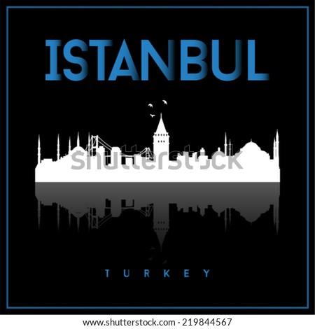 Istanbul Turkey, skyline silhouette vector design on black background. - stock vector