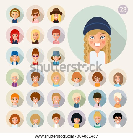 It avatars girls. In the flat style. Great set of 28 images. eps8 - stock vector
