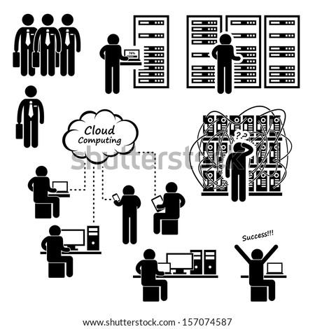 IT Engineer Technician Admin Computer Network Server Data Center Cloud Computing Stick Figure Pictogram Icon - stock vector