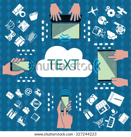 IT equipment in data connectivity and data sharing in a network environment that is speed technology. in vector style - stock vector