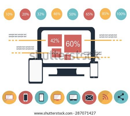 IT infographic elements vector illustration color / infographic elements vector color - stock vector