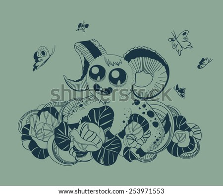It is a cute fantastic creature. Aries. - stock vector