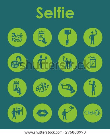 It is a set of selfie simple web icons - stock vector