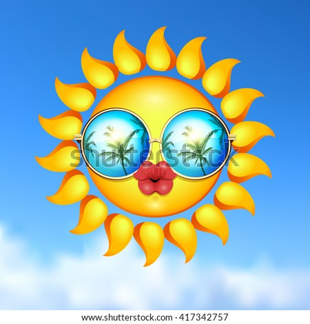 It Is Summer time kissing illustration. Sun Face with sunglasses and full lips on blue sky background. Vector Illustration. Lady sun. - stock vector