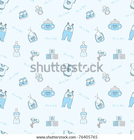It's a boy - blue seamless background with baby elements - stock vector