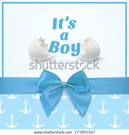 It's a boy. Template for baby shower celebration, or baby announcement card. Greeting card with two egg shells, blue ribbon and a bow. Vector illustration - stock vector