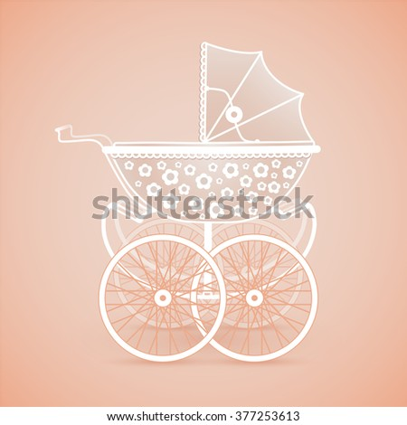 It's a Girl! Vintage baby pram in pink hues on orange background, vector image - stock vector