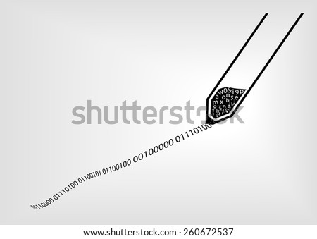 IT security and data encryption for passwords concept visualized by black pen and digital ink using black, white, and grey color scheme with blurred background  - stock vector
