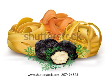 italian colorful pasta tagliatelle and black truffle. vector ...