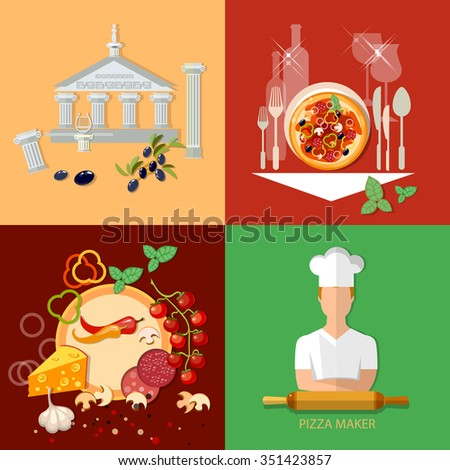 Italian cuisine pizzeria chief cooker pizza ingredients restaurant menu template vector icon set - stock vector