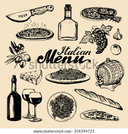 Italian cuisine set. Hand sketched italian menu. Vector set of hand drawn mediterranean food elements with hand lettering. Vector hand sketched traditional southern europe meal and drink in ink style. - stock vector