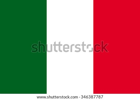 Italian flag in correct proportions and colors - stock vector