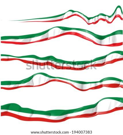 italian flag set isolated - stock vector