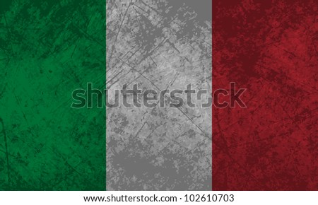 Italian flag with a grunge texture effect. - stock vector
