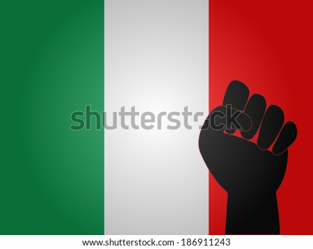 Italian Flag with Protest Sign EPS10 - stock vector