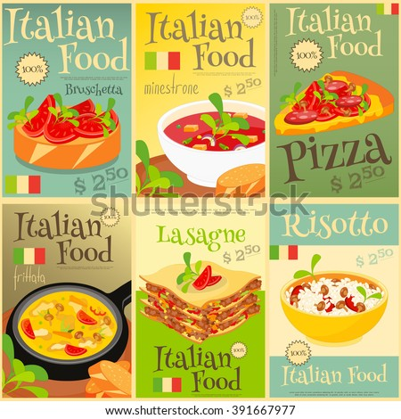 Italian Food Menu Card with Traditional Meal. Italian Cuisine. Food Collection.  Italian Food Posters Set. Vector Illustration. - stock vector