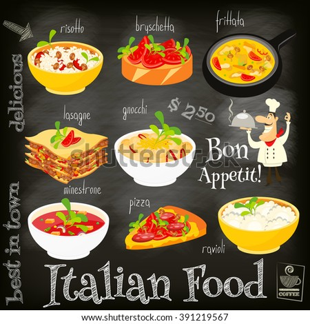Italian Food Menu Card with Traditional Meal on Chalkboard Background. Italian Cuisine. Food Collection.  Vector Illustration. - stock vector