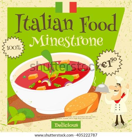 Italian Food - Minestrone. Cover Menu. Advertising Minestrone. European Cuisine. Vector Illustration. - stock vector