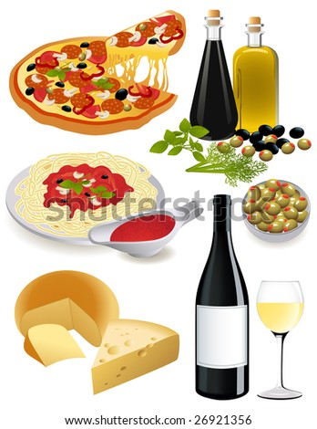 Italian food set, vector illustration, EPS file included - stock vector