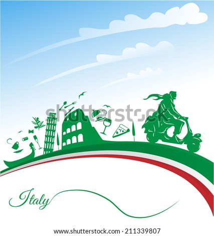 Italian holidays background with flag - stock vector