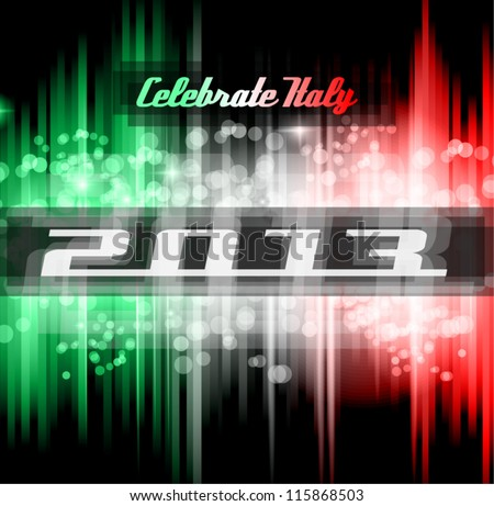 Italian 2013 New Year Celebration Background with Glitter and Rainbow Colours - stock vector
