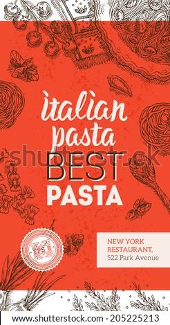 Italian Pasta Brochure - stock vector