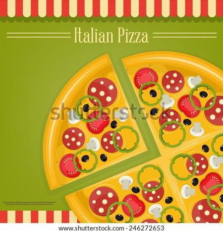 Italian Pizza and Pizza slice written Italian Pizza - stock vector