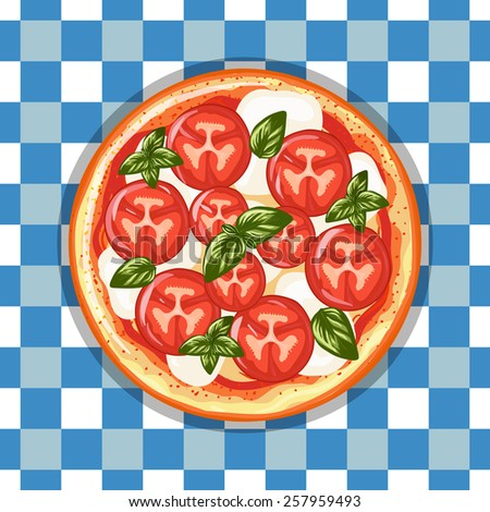 Italian pizza Margarita with tomatoes, cheese and basil. Hand drawn vector illustration. Top view. - stock vector