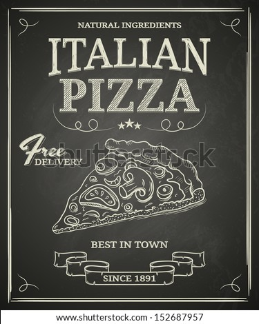 Italian pizza poster on black chalkboard - stock vector