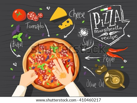 Italian pizza recipe. Margherita pizza.  Italian pizza. delicious pizza. Cooking pizza. Products for pizza. Tasty pizza. Fast pizza. Chief pizza. Delivery pizza. Pizza by  myself. Pizza in microwave.  - stock vector