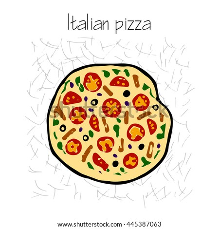 Italian pizza vector hand drawn illustration, traditional food - stock vector
