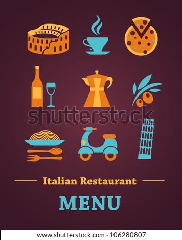 Italian Restaurant menu design - stock vector