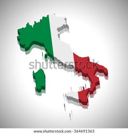 Italy - 3D map and flag - stock vector