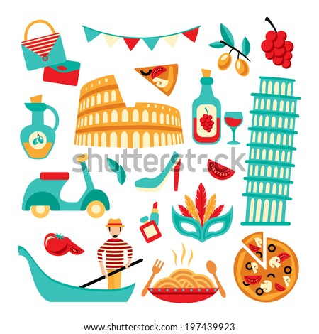 Italy decorative elements set of pizza spaghetti pisa tower isolated vector illustration - stock vector