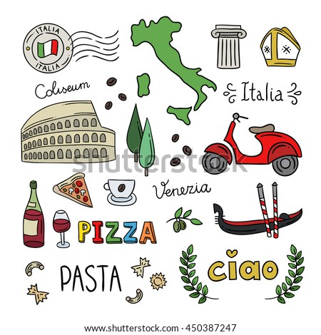 Italy doodle symbols. Hand drawn icons for Italy: Rome, Venice, pasta, pizza design elements - stock vector