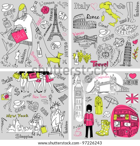 Italy, England, France, USA - four wonderful collections of hand drawn doodles - stock vector