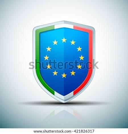 Italy & EU shield sign - stock vector