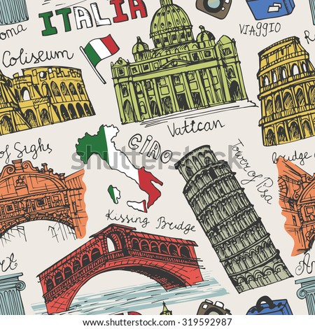 Italy famous landmark seamless pattern.Vintage Hand drawn doodle art sketchy.Italian  travel,hello.Coliseum,Vatican,bridges of Venice,tower of Pisa,map.Travel background.Colored Vector - stock vector