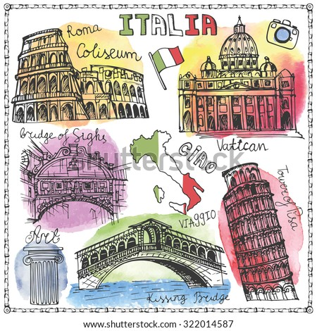 Italy famous landmark with Watercolor textured splash.Vintage Hand drawn doodle art sketchy.Italian travel,hello,Italy.Colored Vector background - stock vector