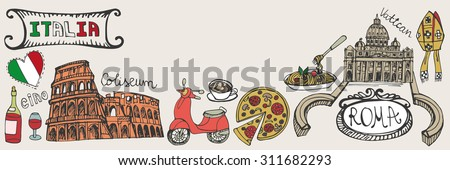 Italy famous Rome landmark,lettering,food set.Vintage Hand drawn doodle art sketchy.Italian Rome,travel,hello.Coliseum,Vatican,icon symbols.Isolated colored Vertical Vector background,illustration - stock vector