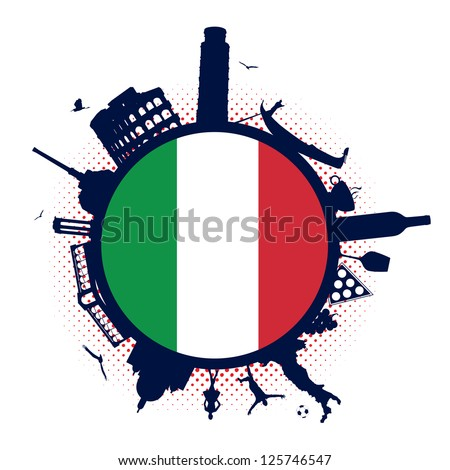 Italy flag and silhouette landmarks - stock vector