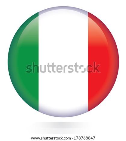 Italy flag button  - stock vector