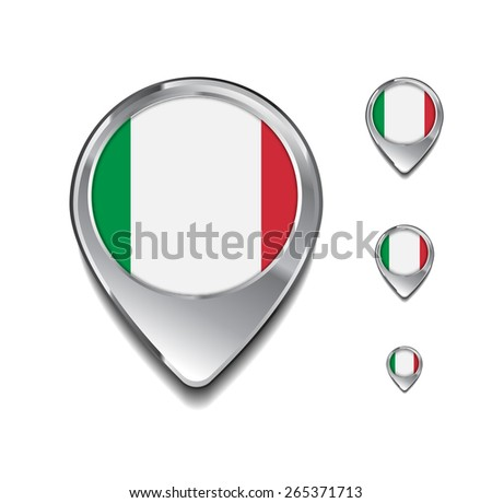 Italy flag map pointer. 3d Map Pointer with flag glossy button style on gray background - stock vector