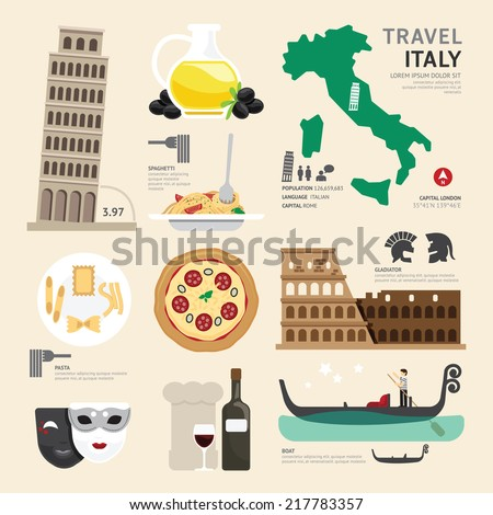 Italy Flat Icons Design Travel Concept.Vector - stock vector