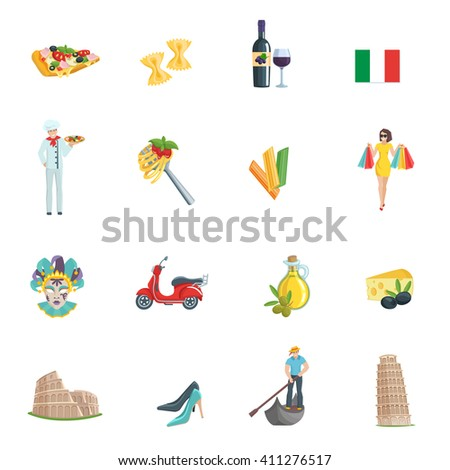 Italy flat icons set. Gondolier pizza wine oil pasta cheese chef scooter.  Italy symbols vector set.  - stock vector
