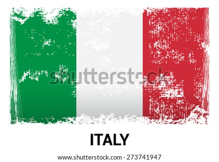 Italy grunge flag isolated vector in official colors and Proportion Correctly. country's name label in bottom - stock vector