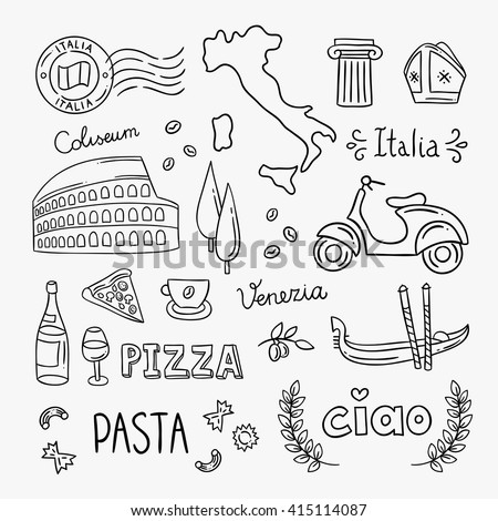 Italy hand drawn icons and vector illustrations. Italy pizza, pasta, travel icons, architecture, food, drink. Italian symbols outline drawing clipart - stock vector